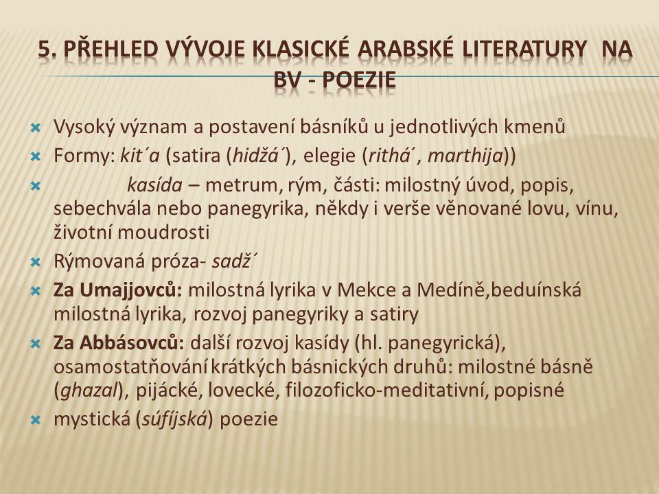 5. Přehled vývoje klasické arabské literatury na BV - PoeZIE