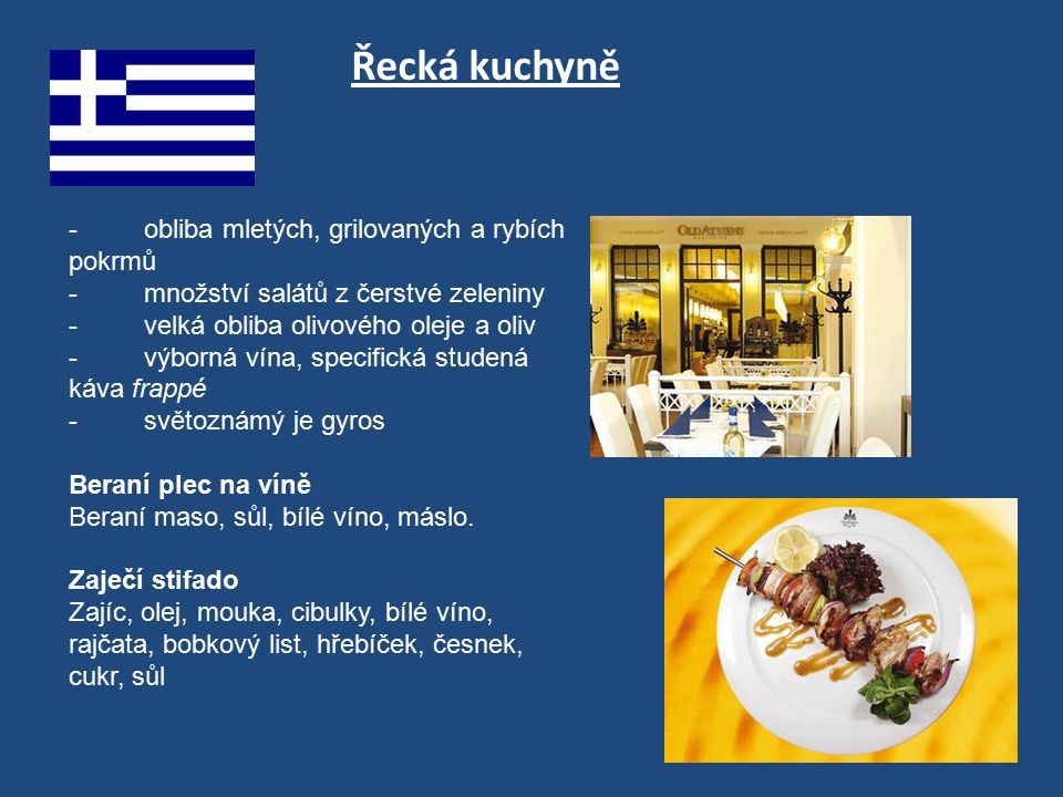 Řecká kuchyně - obliba mletých, grilovaných a rybích pokrmů