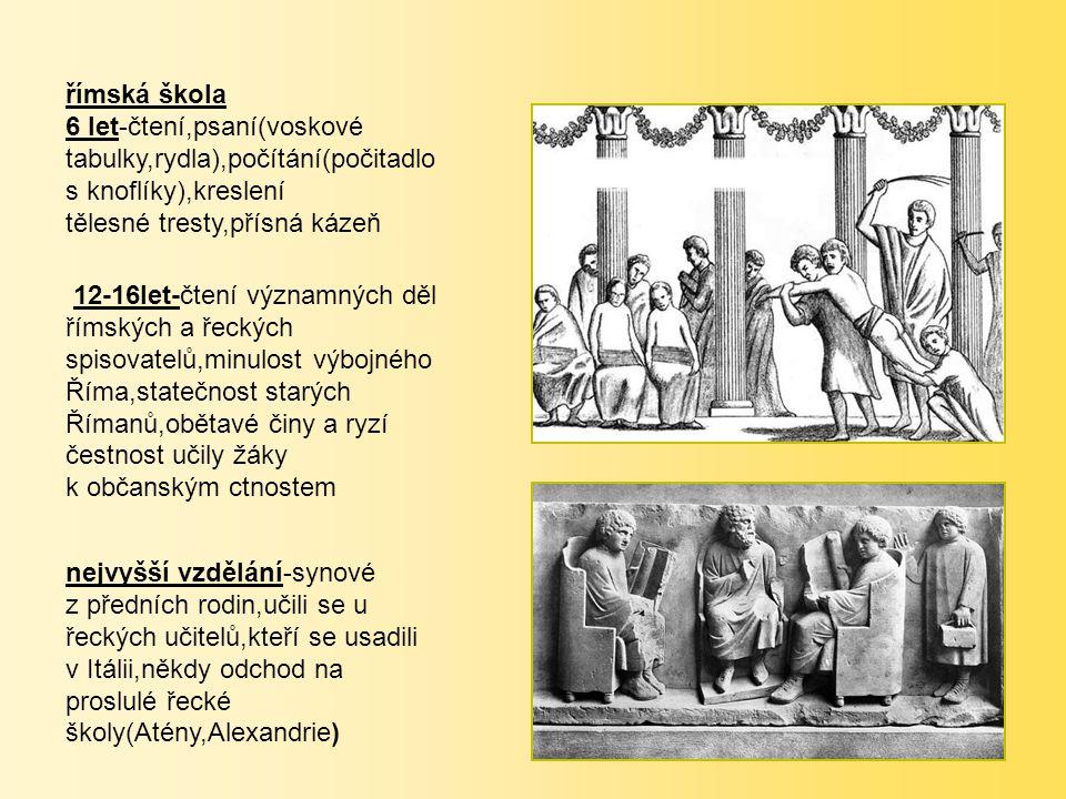 římská škola 6 let-čtení,psaní(voskové tabulky,rydla),počítání(počitadlo s knoflíky),kreslení. tělesné tresty,přísná kázeň.
