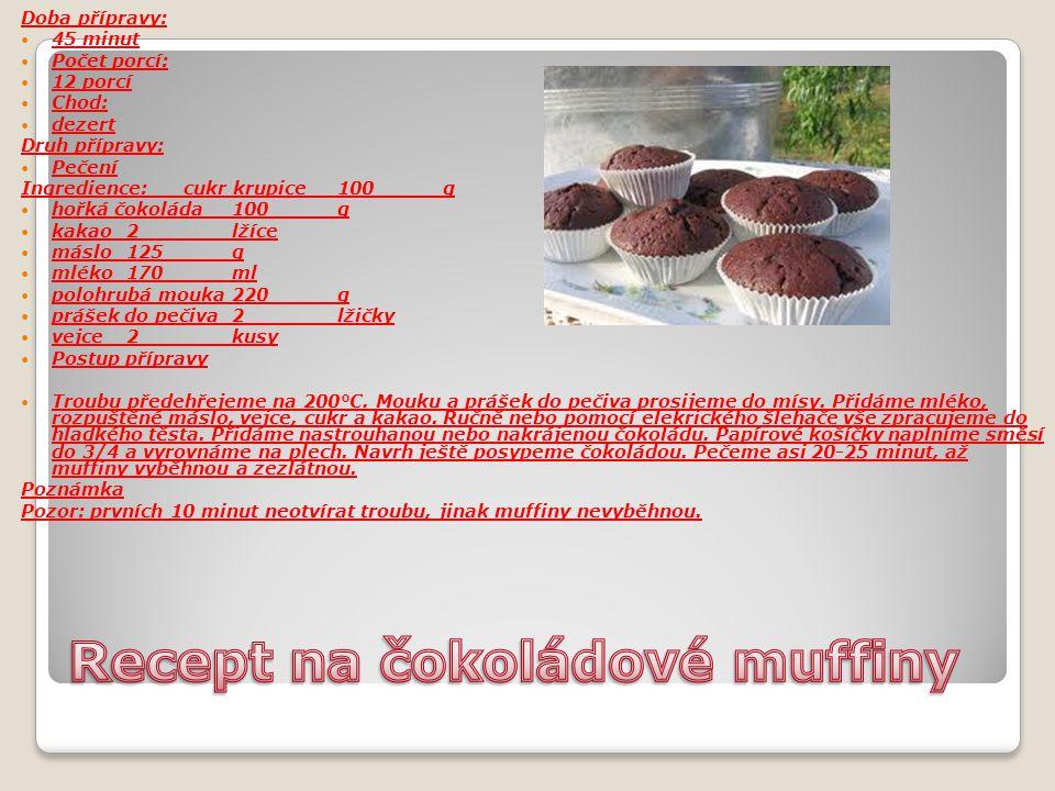 Recept na čokoládové muffiny