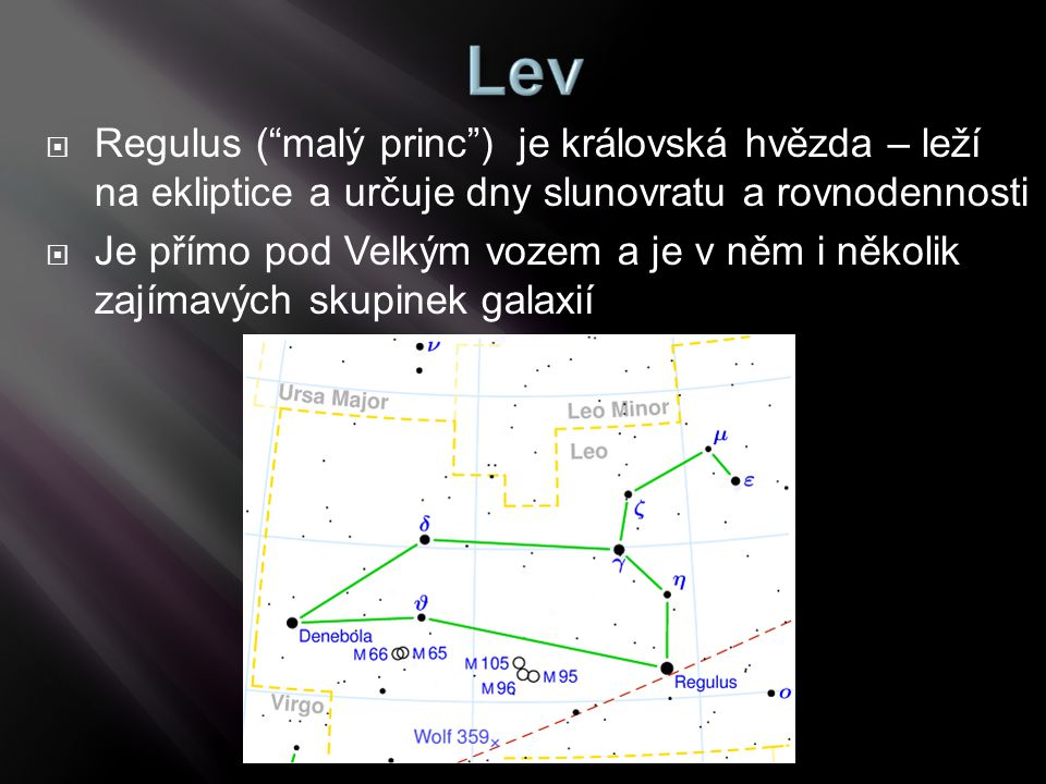 Regulus ( malý princ ) je královská hvězda – leží na ekliptice a určuje dny slunovratu a rovnodennosti