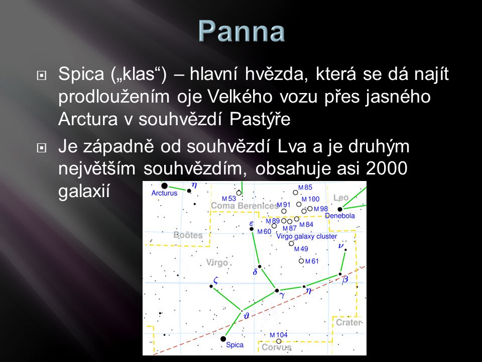 """Spica (""""klas ) – hlavní hvězda, která se dá najít prodloužením oje Velkého vozu přes jasného Arctura v souhvězdí Pastýře"""