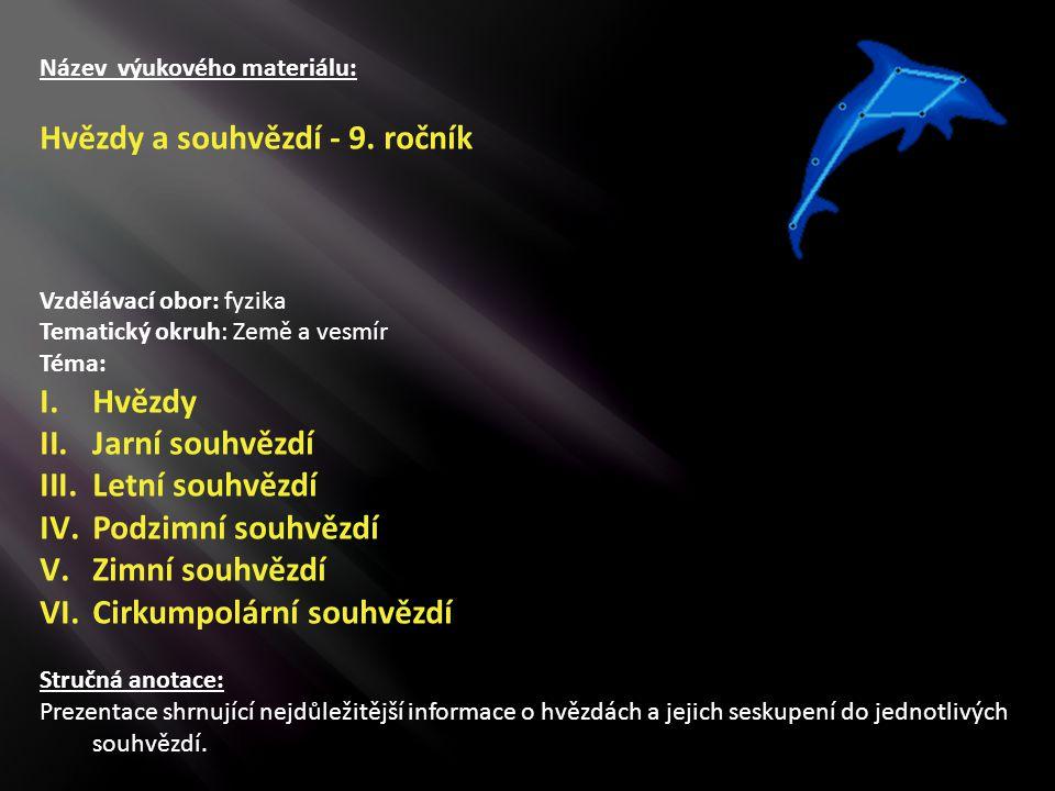 Hvězdy a souhvězdí - 9. ročník
