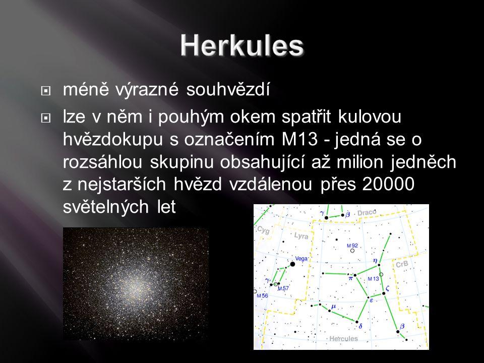 méně výrazné souhvězdí