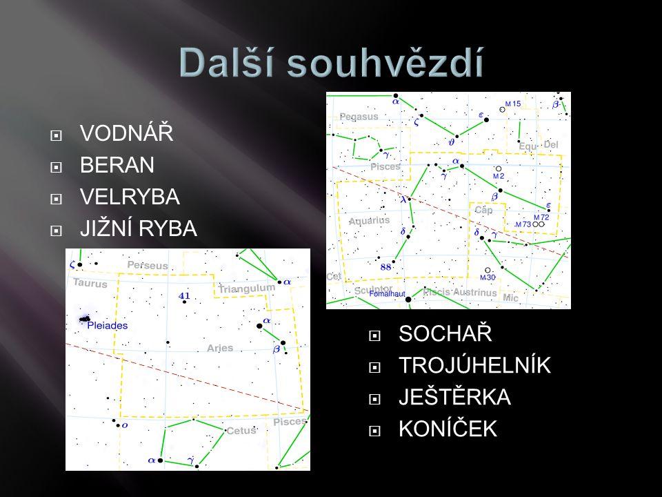 Další souhvězdí VODNÁŘ BERAN VELRYBA JIŽNÍ RYBA SOCHAŘ TROJÚHELNÍK