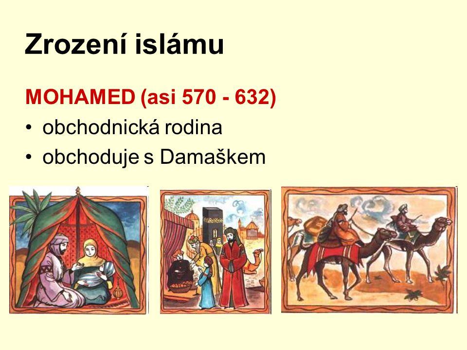 Zrození islámu MOHAMED (asi 570 - 632) obchodnická rodina