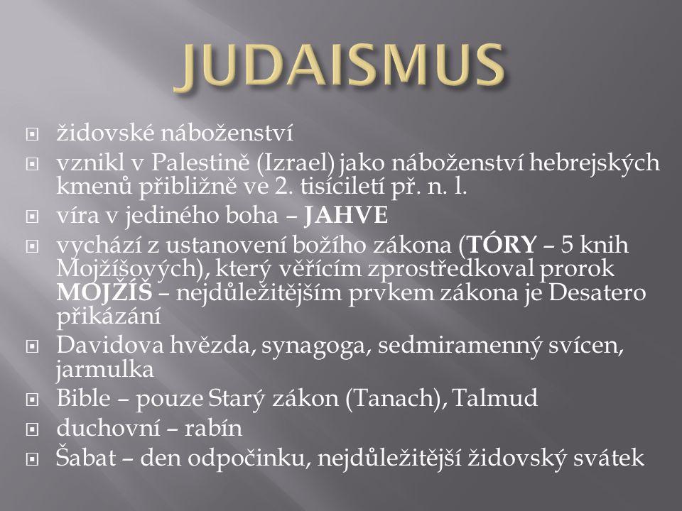 JUDAISMUS židovské náboženství