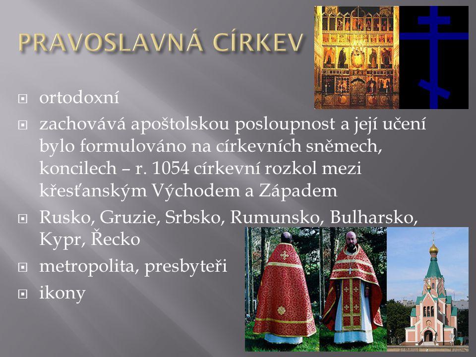 PRAVOSLAVNÁ CÍRKEV ortodoxní