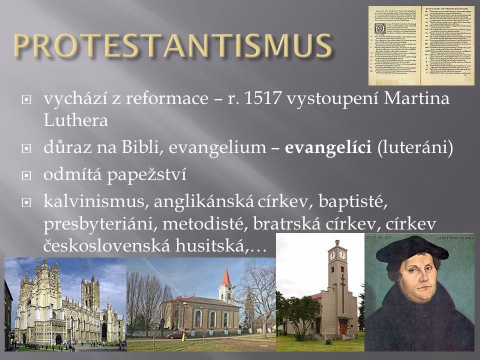 PROTESTANTISMUS vychází z reformace – r. 1517 vystoupení Martina Luthera. důraz na Bibli, evangelium – evangelíci (luteráni)