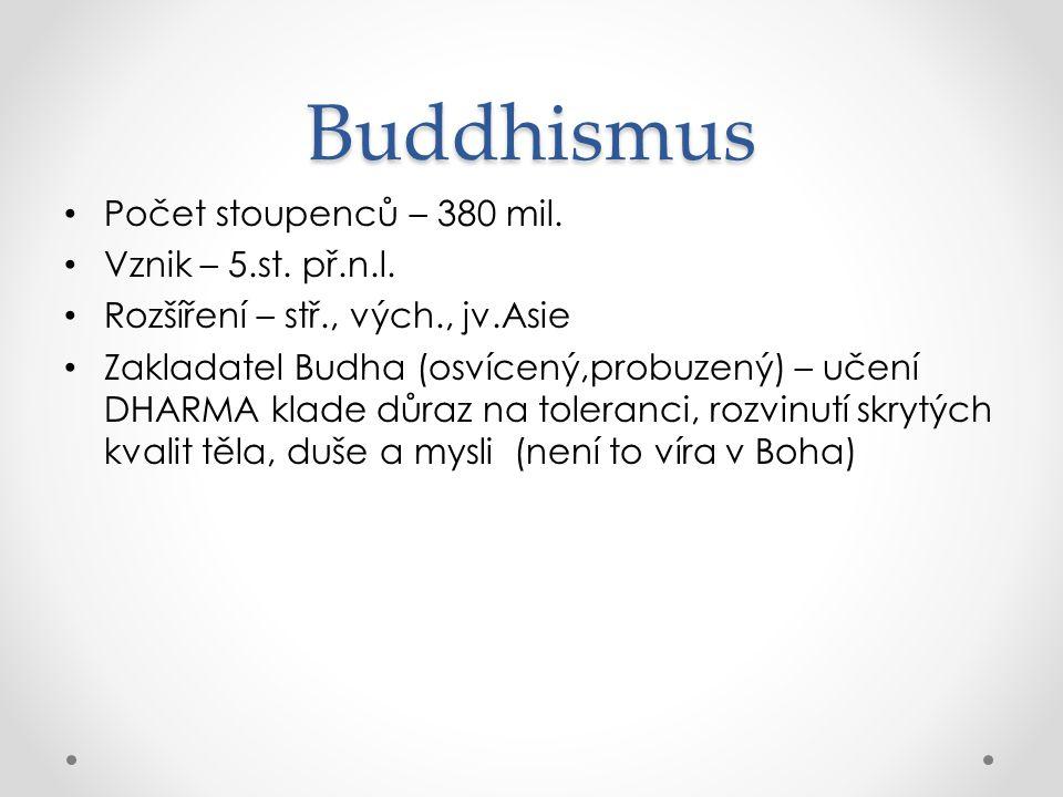 Buddhismus Počet stoupenců – 380 mil. Vznik – 5.st. př.n.l.