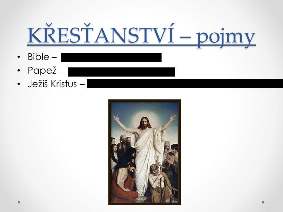 KŘESŤANSTVÍ – pojmy Bible – Papež – Ježíš Kristus –