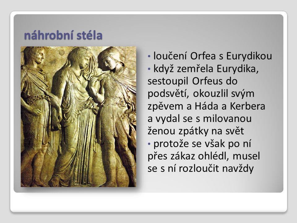 náhrobní stéla loučení Orfea s Eurydikou