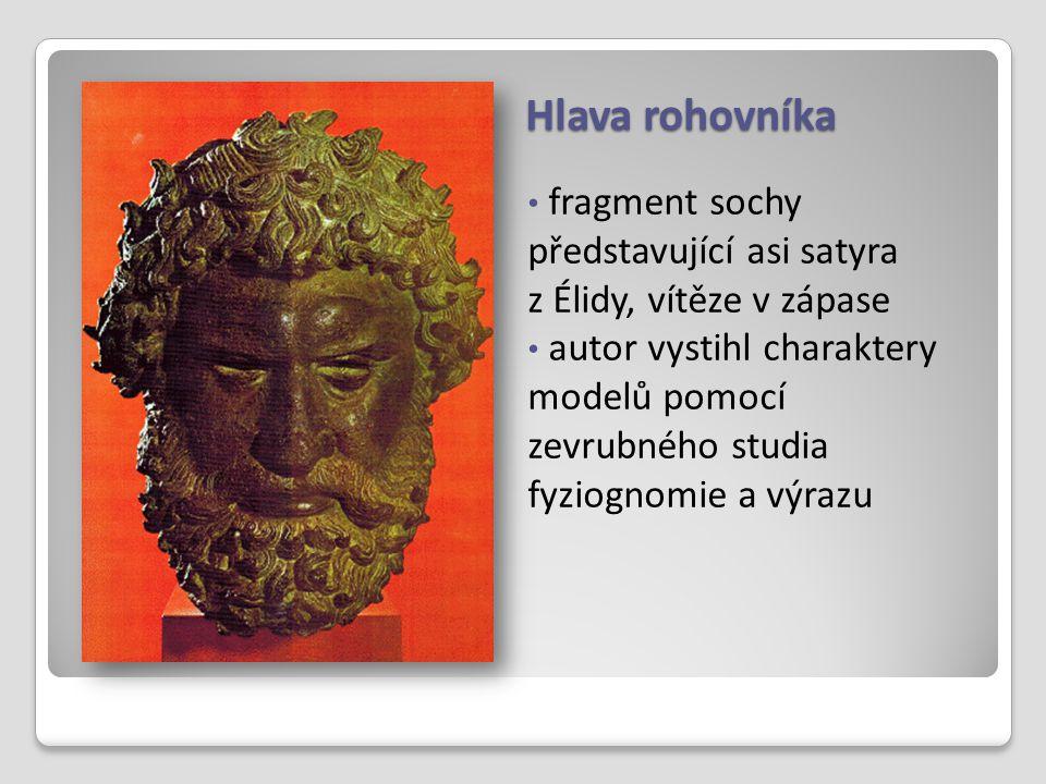 Hlava rohovníka fragment sochy představující asi satyra