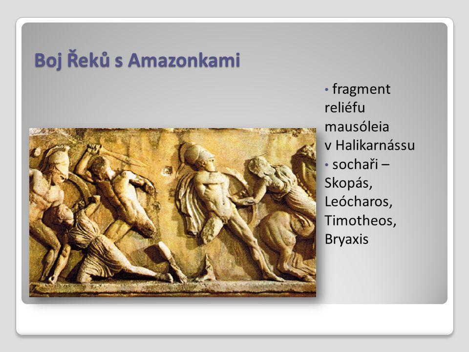 Boj Řeků s Amazonkami fragment reliéfu mausóleia v Halikarnássu