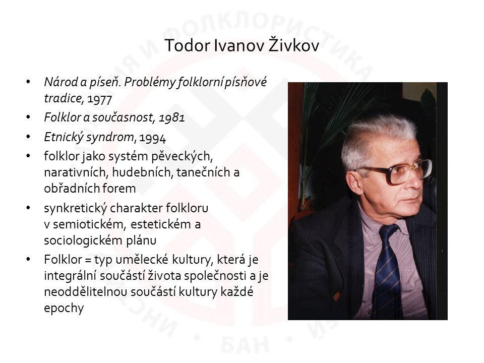Todor Ivanov Živkov Národ a píseň. Problémy folklorní písňové tradice, 1977. Folklor a současnost, 1981.