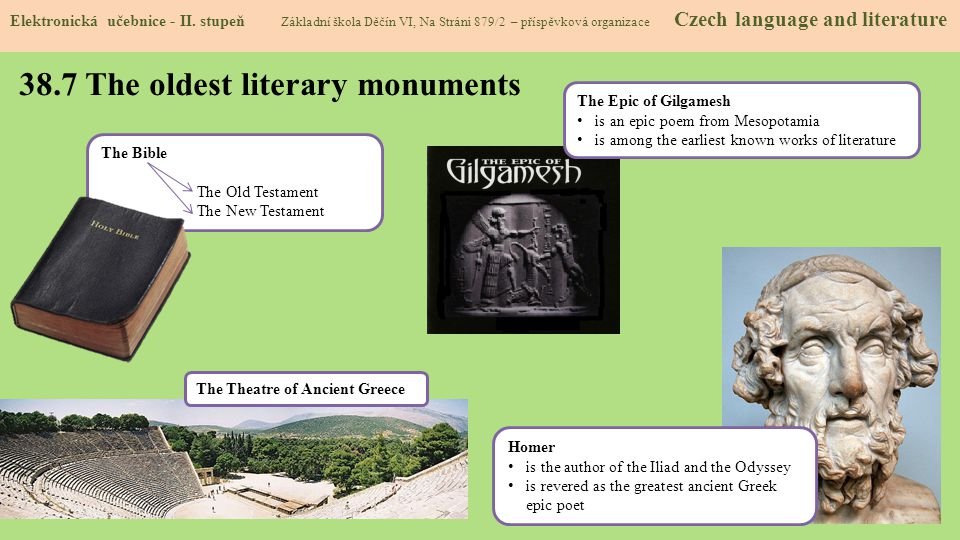 38.7 The oldest literary monuments