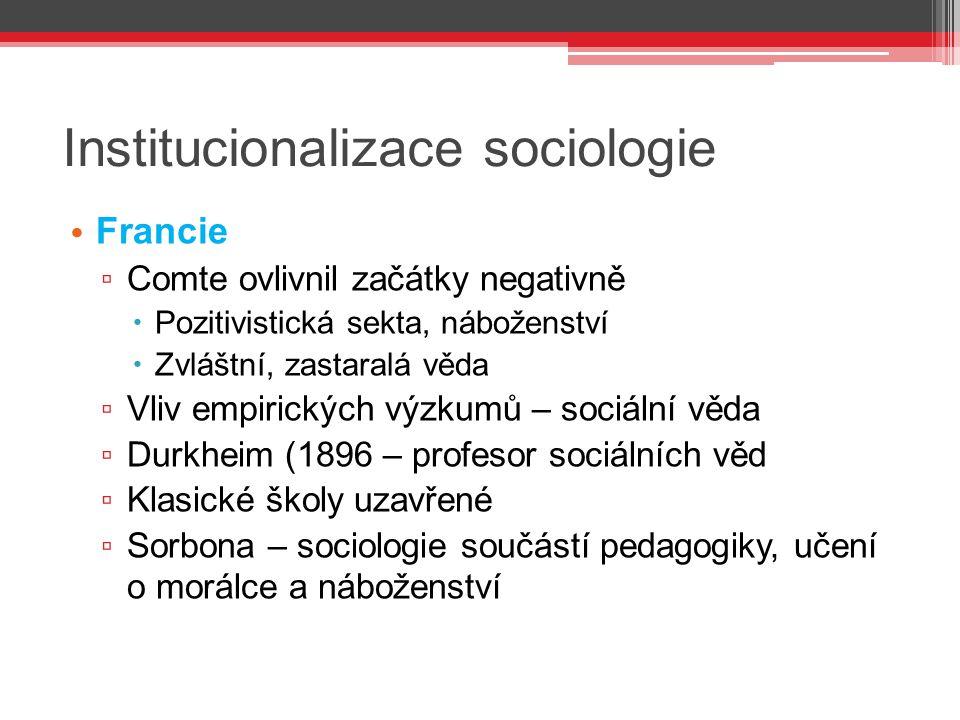 Institucionalizace sociologie