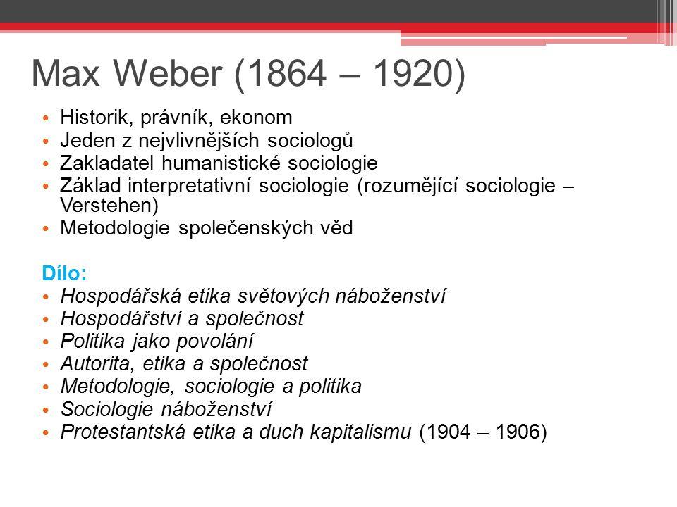 Max Weber (1864 – 1920) Historik, právník, ekonom