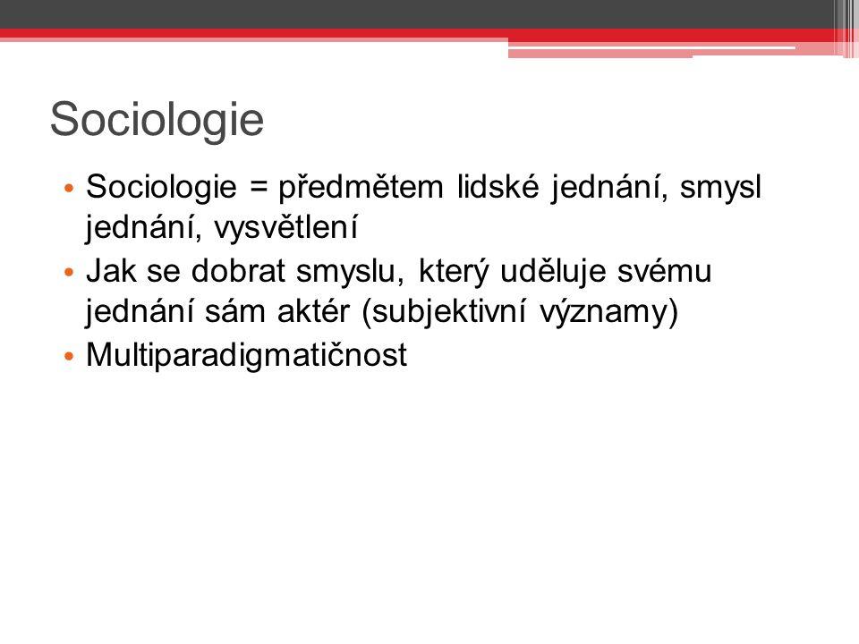 Sociologie Sociologie = předmětem lidské jednání, smysl jednání, vysvětlení.