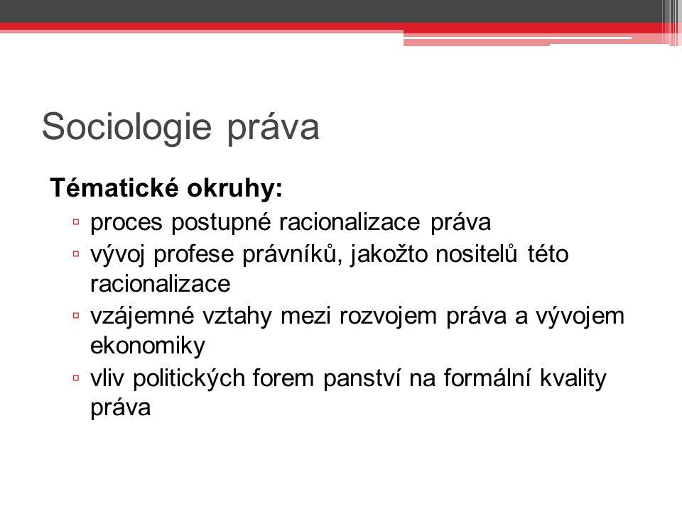 Sociologie práva Tématické okruhy: proces postupné racionalizace práva