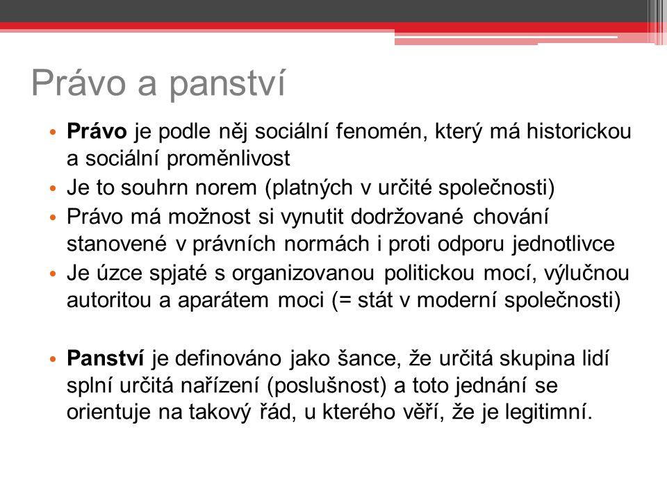 Právo a panství Právo je podle něj sociální fenomén, který má historickou a sociální proměnlivost.