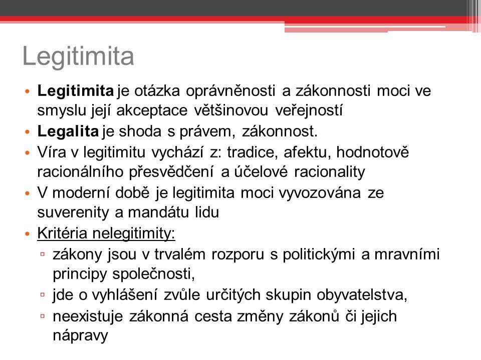 Legitimita Legitimita je otázka oprávněnosti a zákonnosti moci ve smyslu její akceptace většinovou veřejností.