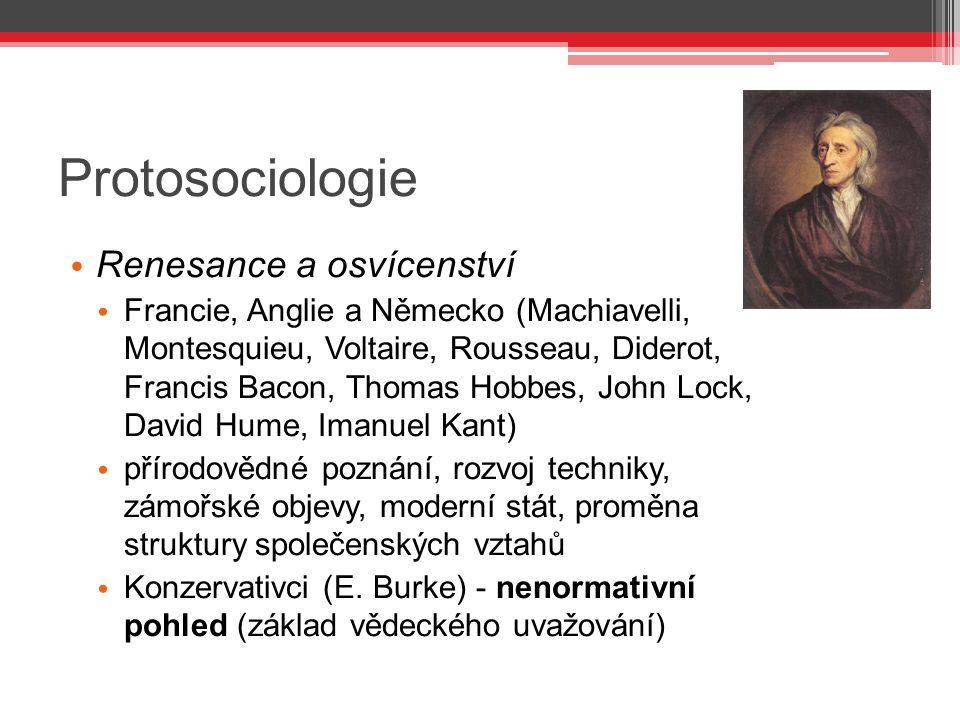 Protosociologie Renesance a osvícenství