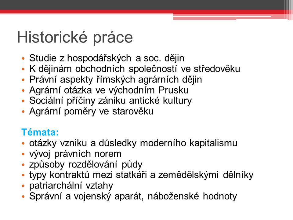 Historické práce Studie z hospodářských a soc. dějin
