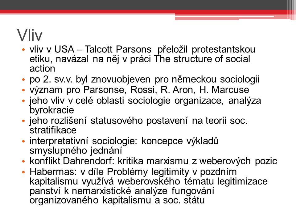 Vliv vliv v USA – Talcott Parsons přeložil protestantskou etiku, navázal na něj v práci The structure of social action.