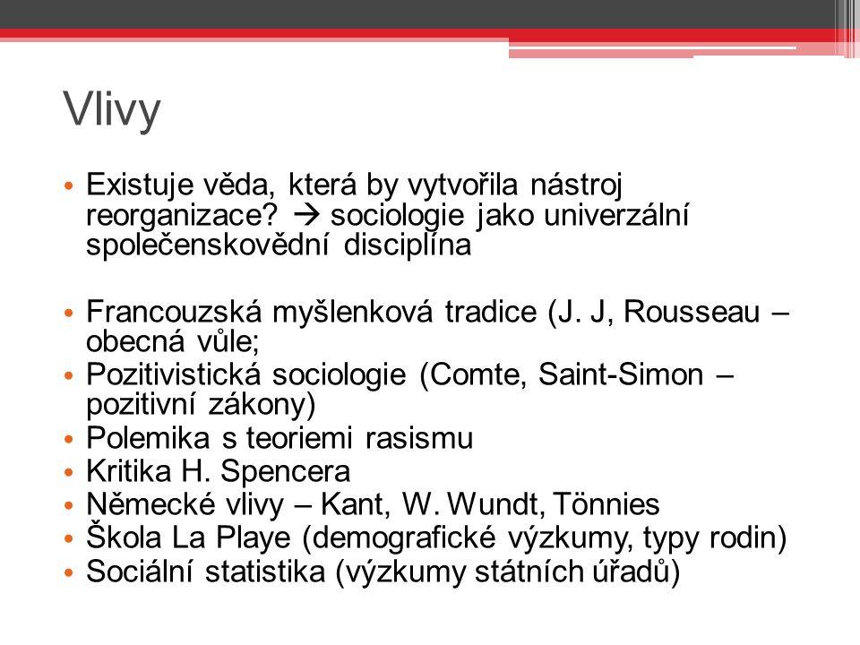 Vlivy Existuje věda, která by vytvořila nástroj reorganizace  sociologie jako univerzální společenskovědní disciplína.