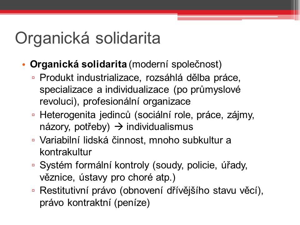 Organická solidarita Organická solidarita (moderní společnost)