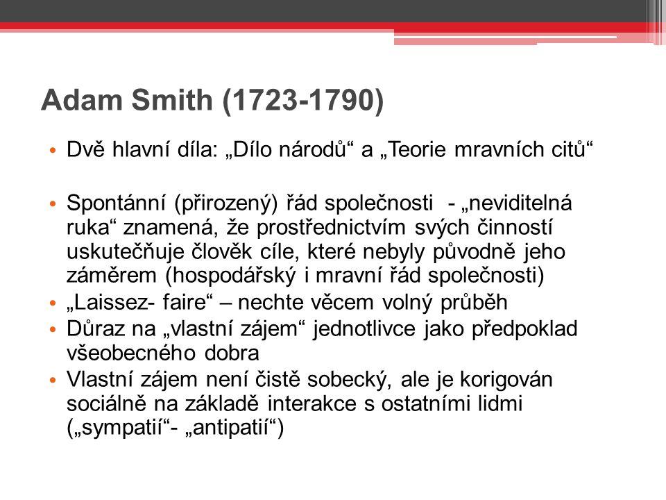 """Adam Smith (1723-1790) Dvě hlavní díla: """"Dílo národů a """"Teorie mravních citů"""