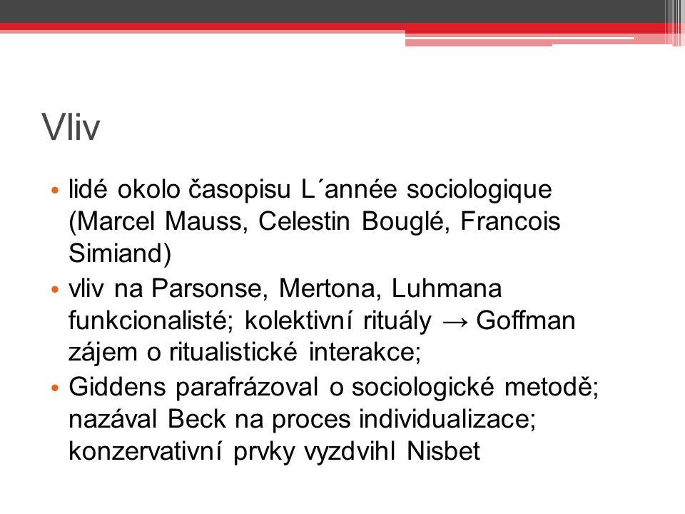 Vliv lidé okolo časopisu L´année sociologique (Marcel Mauss, Celestin Bouglé, Francois Simiand)