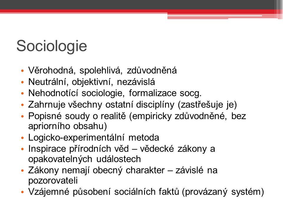 Sociologie Věrohodná, spolehlivá, zdůvodněná