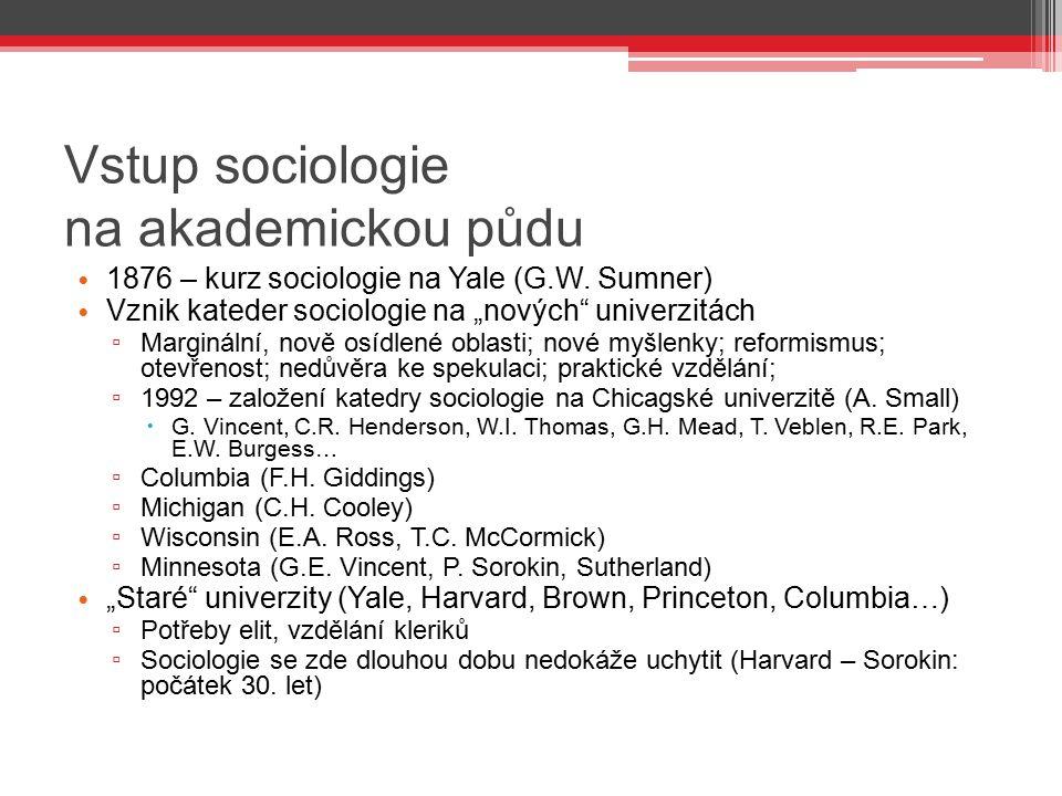 Vstup sociologie na akademickou půdu