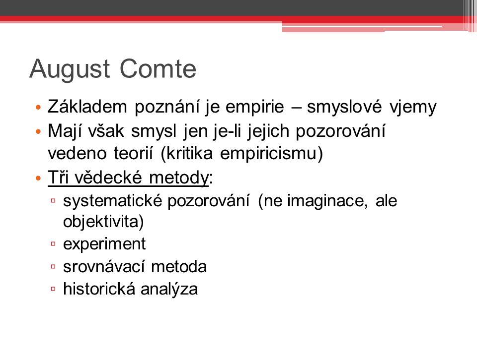 August Comte Základem poznání je empirie – smyslové vjemy