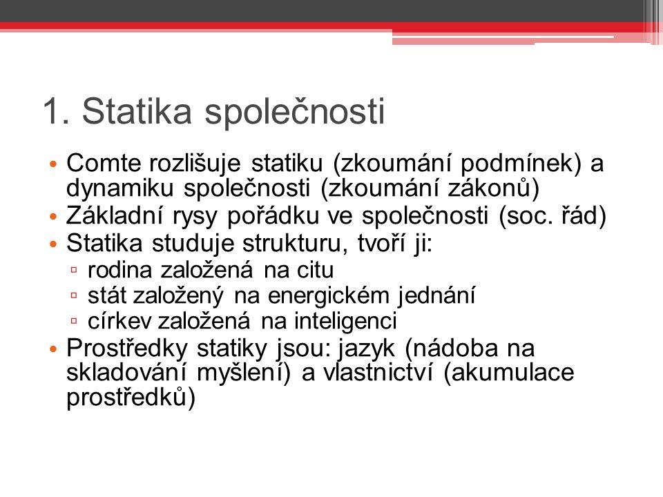 1. Statika společnosti Comte rozlišuje statiku (zkoumání podmínek) a dynamiku společnosti (zkoumání zákonů)