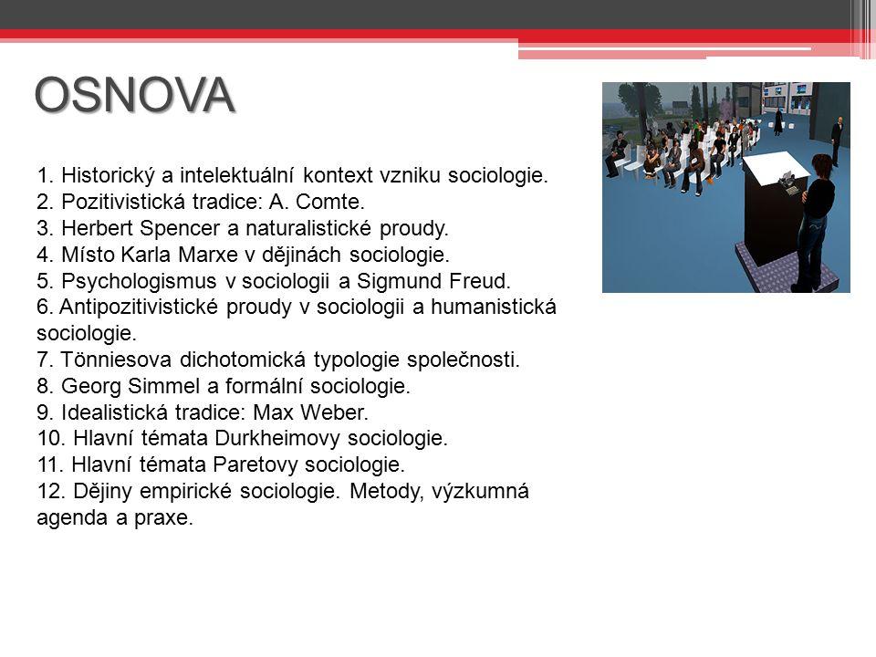 OSNOVA 1. Historický a intelektuální kontext vzniku sociologie.