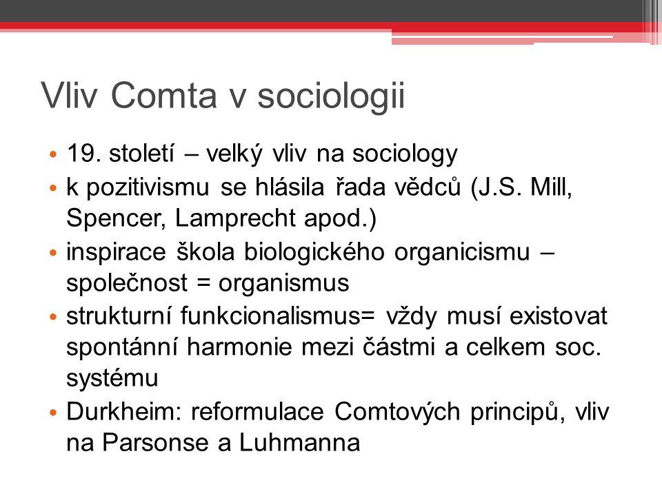 Vliv Comta v sociologii