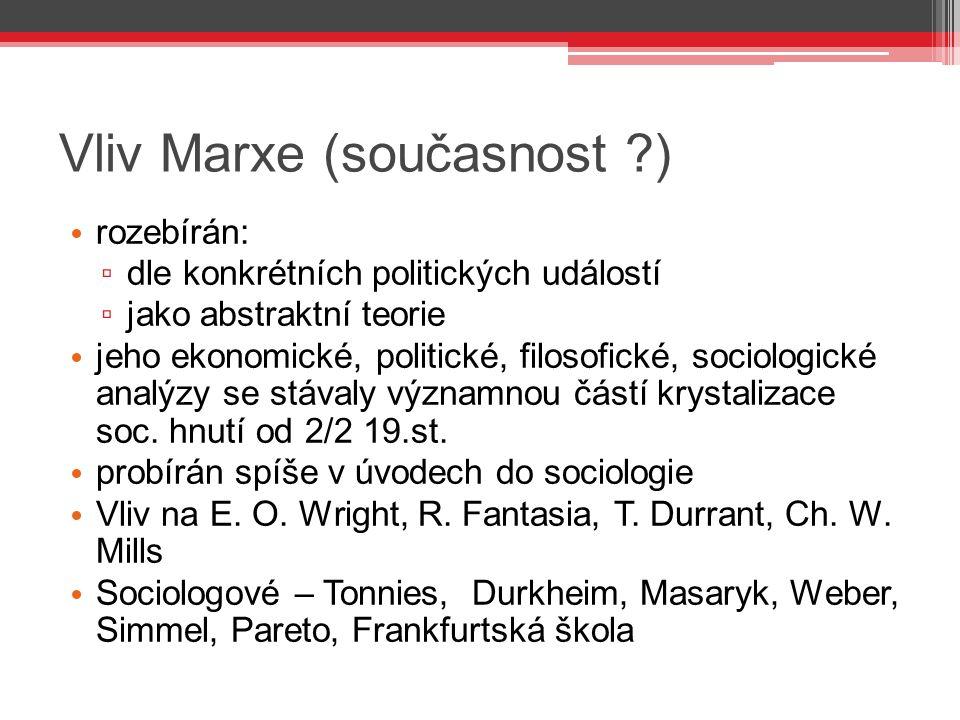 Vliv Marxe (současnost )