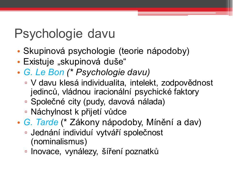 Psychologie davu Skupinová psychologie (teorie nápodoby)