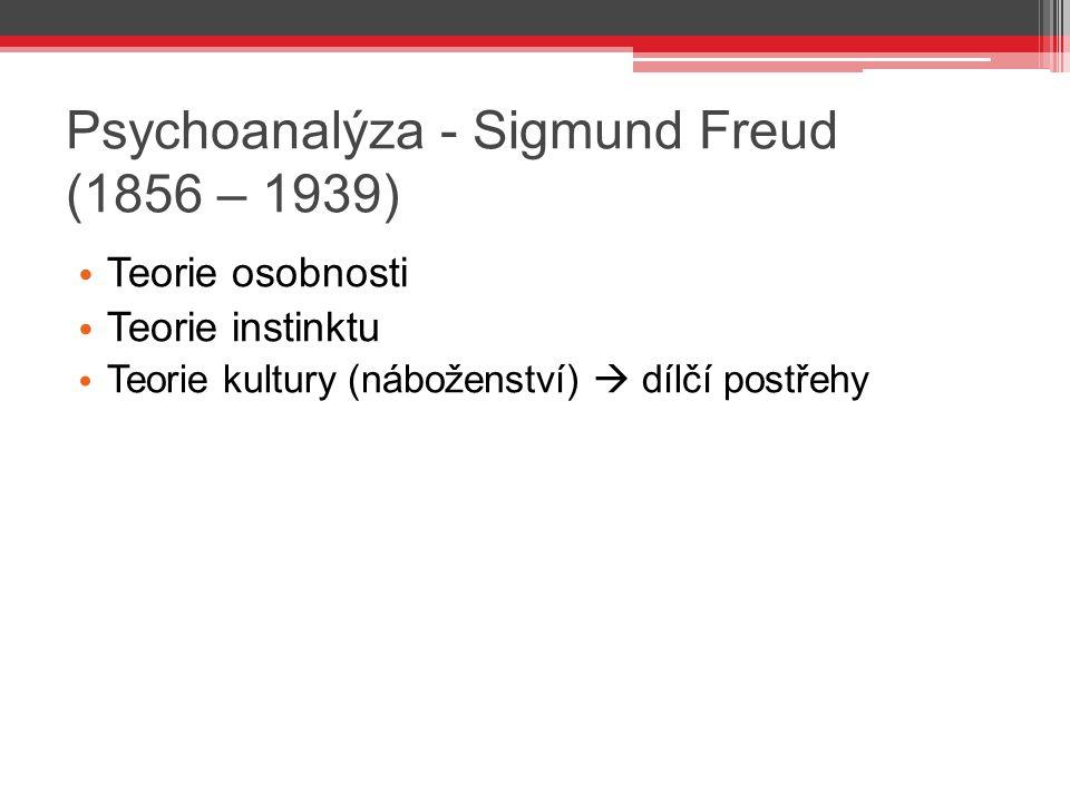 Psychoanalýza - Sigmund Freud (1856 – 1939)
