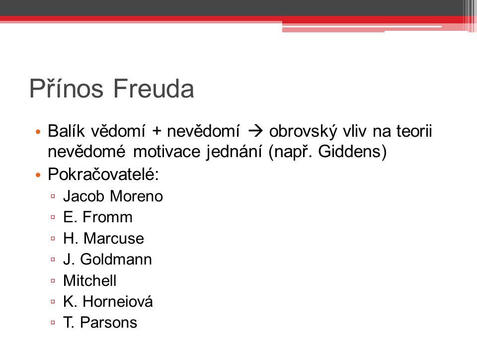 Přínos Freuda Balík vědomí + nevědomí  obrovský vliv na teorii nevědomé motivace jednání (např. Giddens)