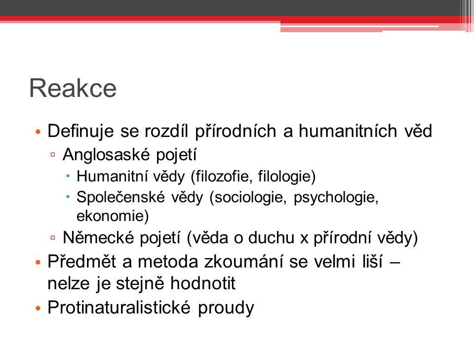 Reakce Definuje se rozdíl přírodních a humanitních věd