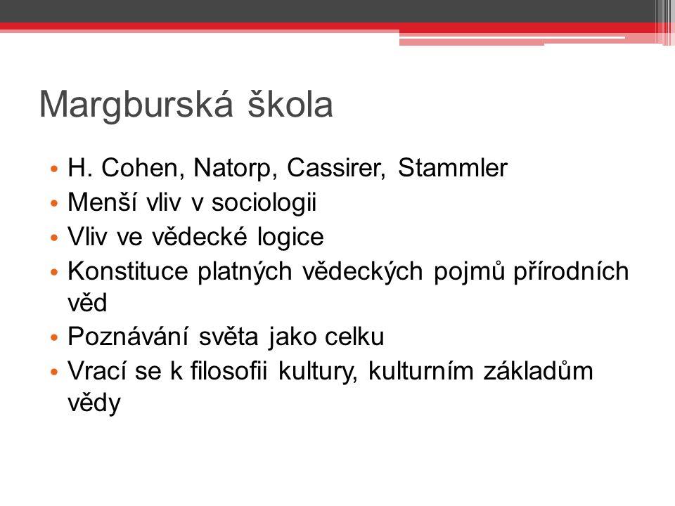 Margburská škola H. Cohen, Natorp, Cassirer, Stammler