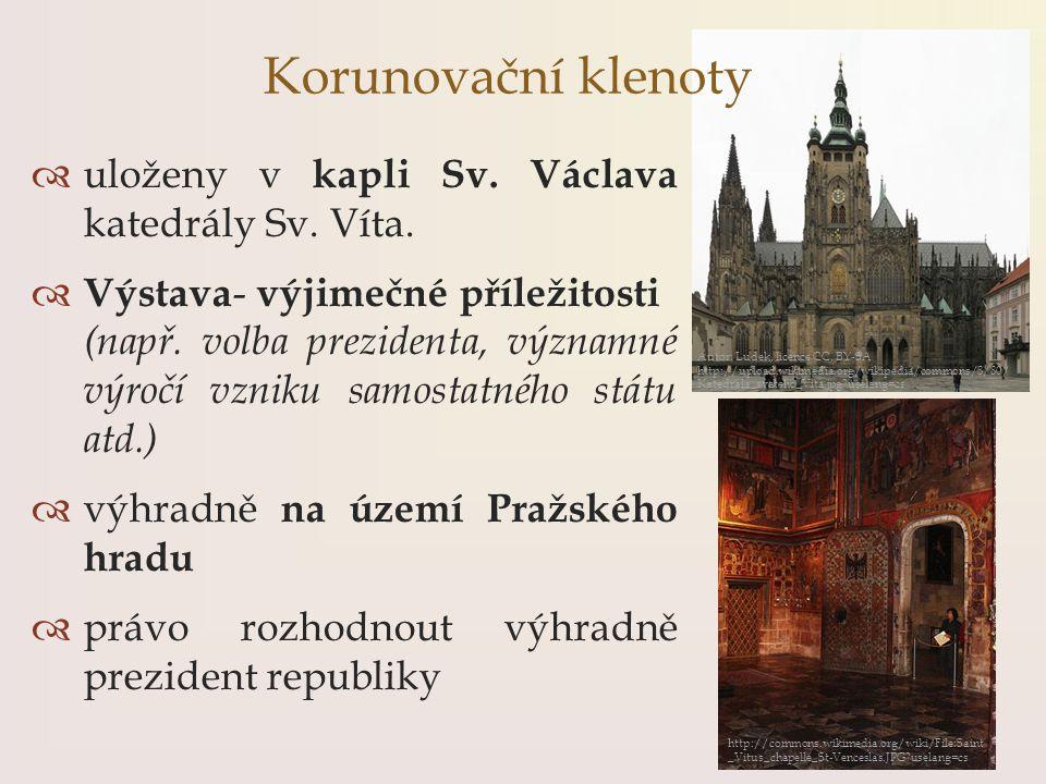 Korunovační klenoty uloženy v kapli Sv. Václava katedrály Sv. Víta.