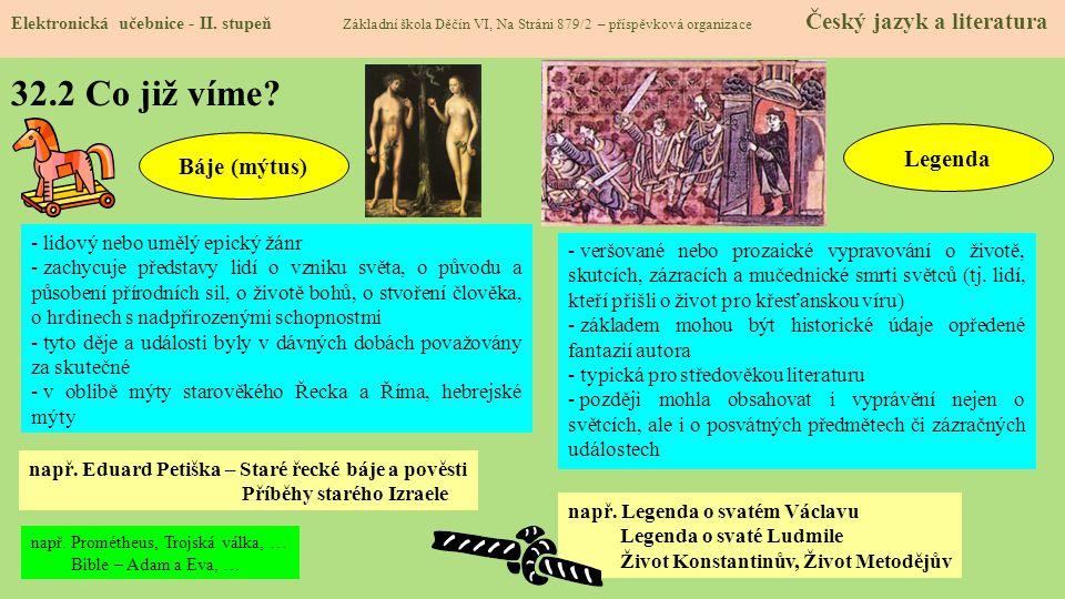 32.2 Co již víme Legenda Báje (mýtus) - lidový nebo umělý epický žánr
