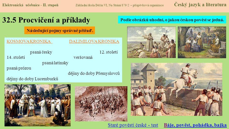 32.5 Procvičení a příklady Staré pověsti české - test
