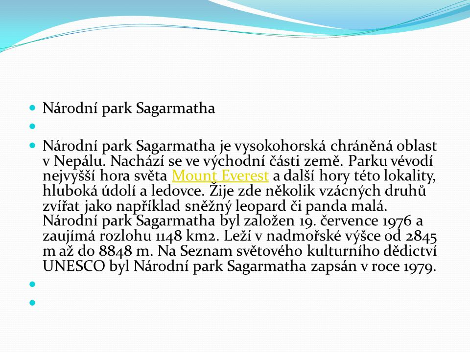 Národní park Sagarmatha