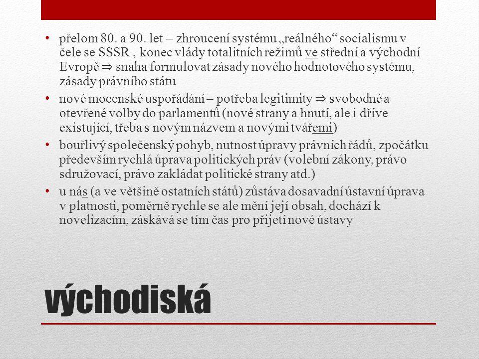 """přelom 80. a 90. let – zhroucení systému """"reálného socialismu v čele se SSSR , konec vlády totalitních režimů ve střední a východní Evropě ⇒ snaha formulovat zásady nového hodnotového systému, zásady právního státu"""